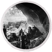 Palestine: Cave Dwelling Round Beach Towel