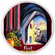 Palestine Travel Poster Round Beach Towel