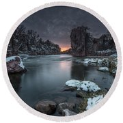 Palisades First Snow Round Beach Towel