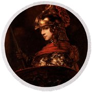 Pallas Athena  Round Beach Towel by Rembrandt