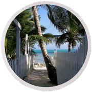 Palm Alley Round Beach Towel by Karen Wiles