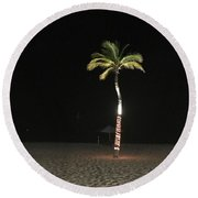 Palm At Night Round Beach Towel