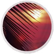 Palm At Sunset Round Beach Towel