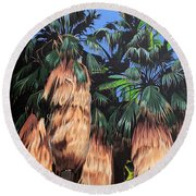 Palm Canyon Entrance Round Beach Towel
