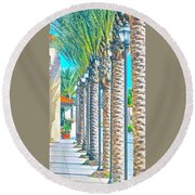 Palm Columns Round Beach Towel