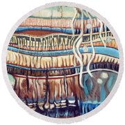 Palm Contractions Round Beach Towel