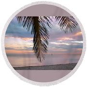 Palm Courtain II Round Beach Towel