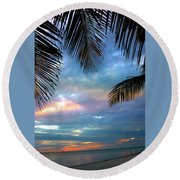 Palm Curtains Round Beach Towel