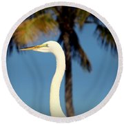 Palm Egret Round Beach Towel
