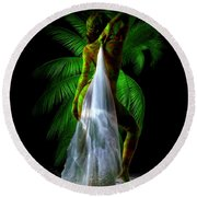 Palm Falls Round Beach Towel