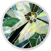 Palm Flower Mosaic Round Beach Towel