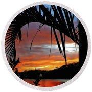 Palm Framed Sunset Round Beach Towel