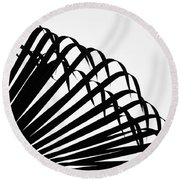 Palm Frond Black And White Round Beach Towel