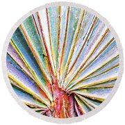 Palm Frond Lines Round Beach Towel