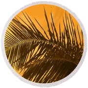 Palm Frond Sunset Round Beach Towel