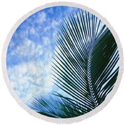 Palm Fronds And Clouds Round Beach Towel