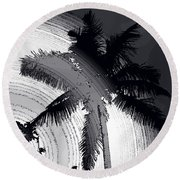 Palm In Grey Round Beach Towel