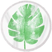 Palm Leaf- Art By Linda Woods Round Beach Towel by Linda Woods