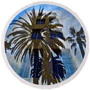 Palm Mural Round Beach Towel