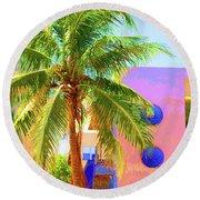 Palm Of Miami Round Beach Towel