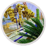 Palm Of The Dock Round Beach Towel