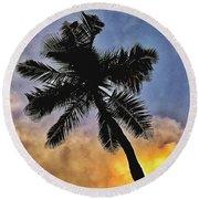 Palm On The Beach Round Beach Towel