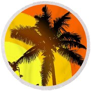 Palm On The Half Shell Round Beach Towel