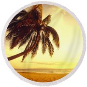 Palm Over The Beach Round Beach Towel
