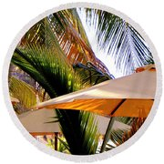 Palm Serenity Round Beach Towel