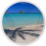 Palm Shadows Round Beach Towel