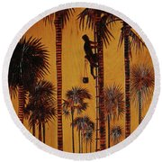 Palm Silhouette Round Beach Towel