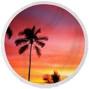 Palm Silhouettes Round Beach Towel
