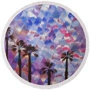 Palm Springs Sunset Round Beach Towel