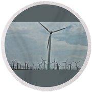 Palm Springs Windmills Round Beach Towel