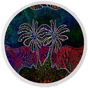 Palm Tree Abstraction Round Beach Towel