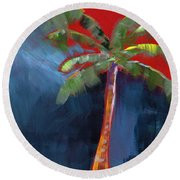 Palm Tree- Art By Linda Woods Round Beach Towel