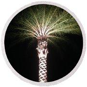 Palm Tree At Night Round Beach Towel