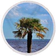 Palm Tree By The Lake Round Beach Towel