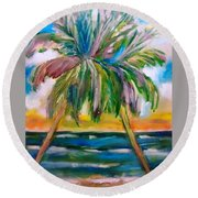 Palm Tree Color Times Two Round Beach Towel