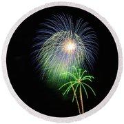 Palm Tree Fireworks Round Beach Towel