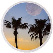 Palm Tree Full Moon Sunset Round Beach Towel