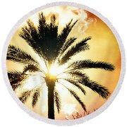 Palm Tree In The Sun #2 Round Beach Towel