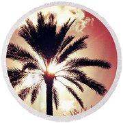 Palm Tree In The Sun Round Beach Towel