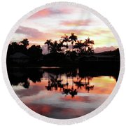 Palm Tree Inlet 2 Round Beach Towel