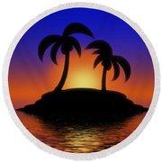 Palm Tree Island Round Beach Towel
