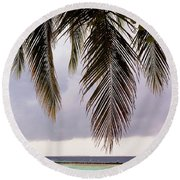 Palm Tree Leaves At The Beach Round Beach Towel