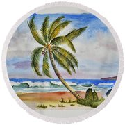 Palm Tree Ocean Scene Round Beach Towel