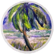 Palm Tree On Windy Beach Round Beach Towel