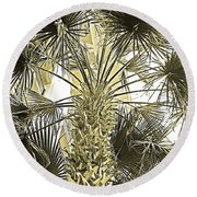 Palm Tree Pen And Ink Grayscale With Sepia Tones Round Beach Towel
