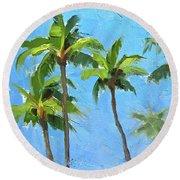 Palm Tree Plein Air Painting Round Beach Towel